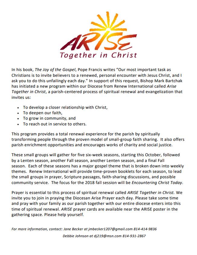 ARISE Together In Christ | St  John Parish - Atloona, PA