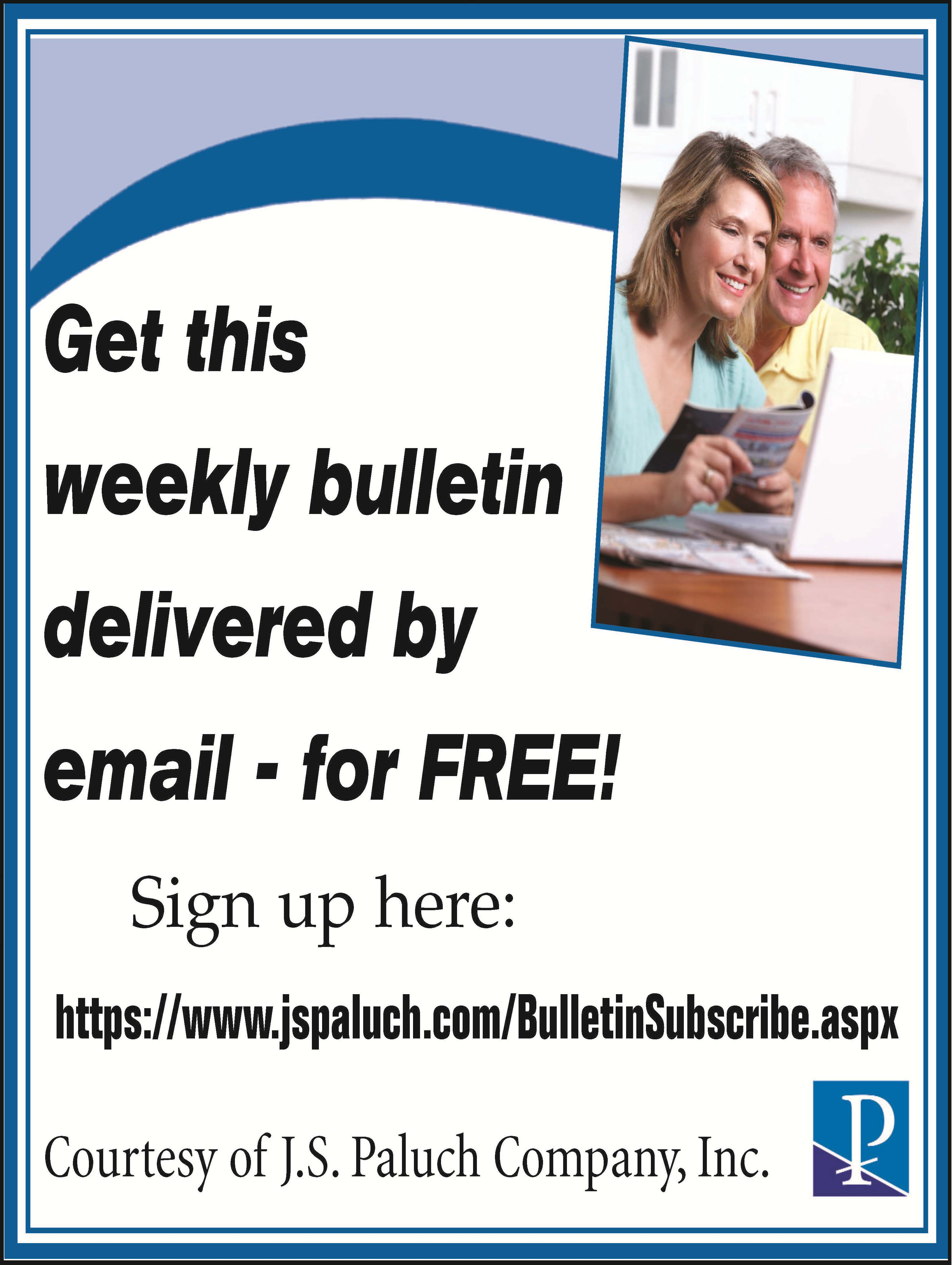 Get the Sunday bulletin delivered by email